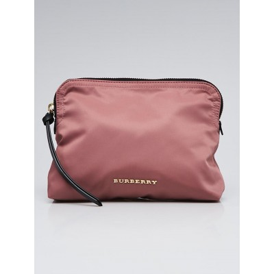 Burberry Mauve Pink Nylon Technical Large Zip Pouch