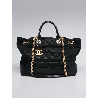 Chanel Black Iridescent Caviar Quilted Globe Trotter Shopping Tote Bag