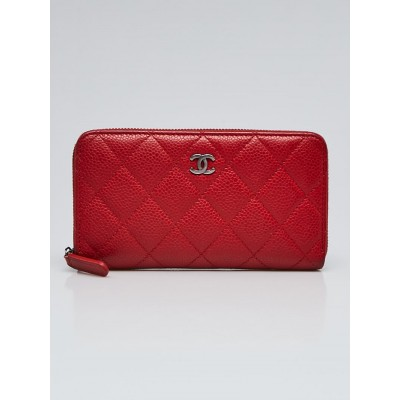 Chanel Red Quilted Caviar Leather Zippy Compact Wallet
