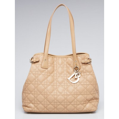 Christian Dior Beige Cannage Quilted Coated Canvas Small Panarea Tote Bag