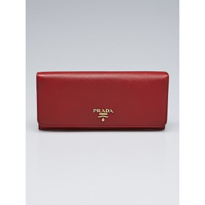 Prada Fuoco Saffiano Metal Leather Continental Wallet 1M1132