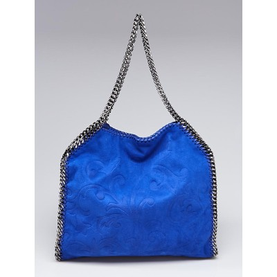 Stella McCartney Blue Embossed Shaggy Deer Faux-Leather Falabella Small Tote Bag