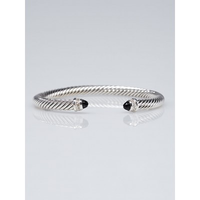 David Yurman 5mm Black Onyx and Diamond Cable Classics Bracelet