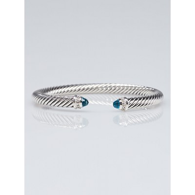 David Yurman 5mm Sterling Silver and Blue Topaz with Diamonds Cable Classics Bracelet
