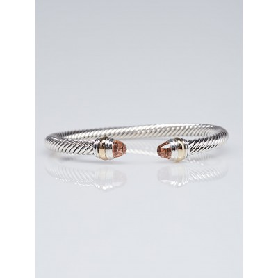 David Yurman 5mm Sterling Silver and Morganite with Diamonds Cable Classics Bracelet