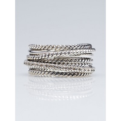 David Yurman Sterling Silver and Diamond Crossover Ring Size 7.5