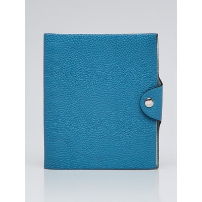 Hermes Blue Jean Clemence Leather Ulysses PM Agenda/Notebook