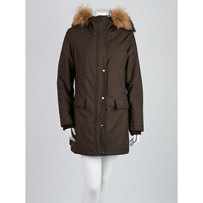 Burberry London Brown Polyester Raccoon Fur Trim Babthorpe Parka Jacket Size M