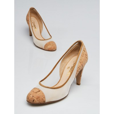 Chanel Beige Cork and Mesh Round Toe Pumps Size 7.5/38