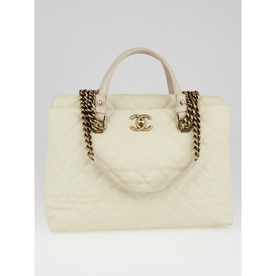 Chanel White Matte Quilted Caviar Leather Chic Quilt Tote Bag