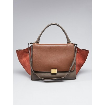 Celine Brown Tricolor Leather and Suede Medium Trapeze Bag