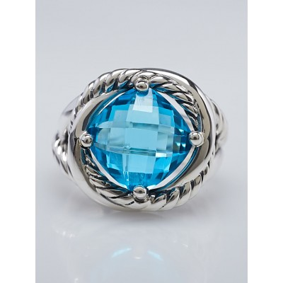 David Yurman 11mm Blue Topaz and Sterling Silver Infinity Ring Size 6.5