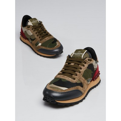 Valentino Green/Red Camo Print Canvas Rockstud Sneakers Size 4.5/35