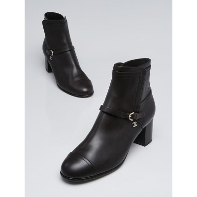 Chanel Dark Brown Leather Calfskin Ankle Boots Size 9.5/40
