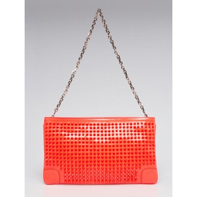 Christian Louboutin Neon Pink Patent Leather Loubiposh Spiked Clutch Bag