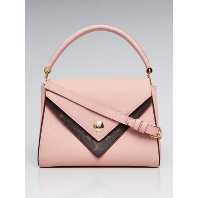 Louis Vuitton Rose Ballerine Leather and Monogram Coated Canvas Double V Bag