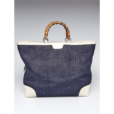 Gucci Blue/White Straw and Leather Bamboo Top Handle Tote Bag