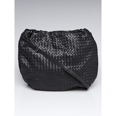 Bottega Veneta Black Intrecciato Woven Nappa Leather Large Crossbody Bag