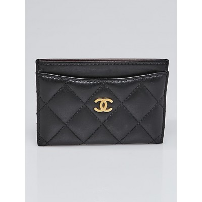 Chanel Black Quilted Lambskin Leather Card Holder