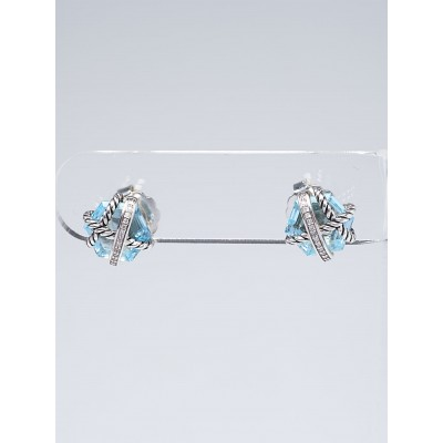 David Yurman 10mm Blue Topaz and Diamonds Sterling Silver Cable Wrap Stud Earrings