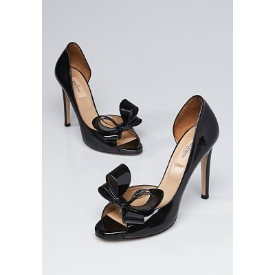 Valentino Black Patent Leather Peep-Toe d'Orsay Bow Pumps Size 7.5/38