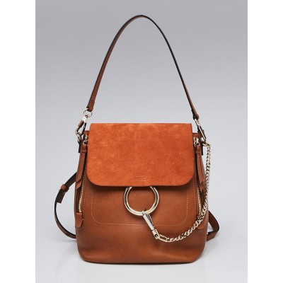 Chloe Tan Leather and Suede Faye Backpack Bag