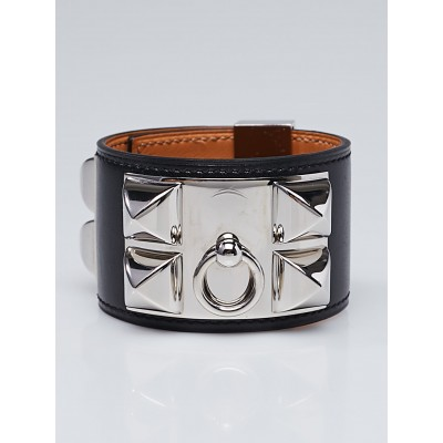 Hermes Black Box Leather Palladium Plated Collier de Chien Bracelet Size S
