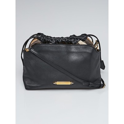 Burberry Military Black Leather and Bridle House Check Canvas Little Crush Crossbody Bag
