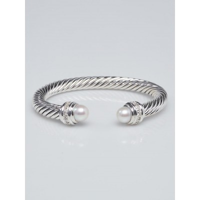David Yurman 7mm Sterling Silver and Pearl with Diamonds Cable Classics Bracelet