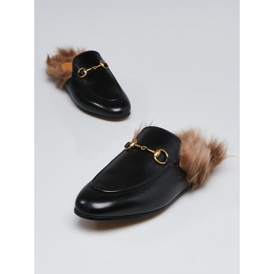 Gucci Black Leather and Fur Princetown Mules Flats Size 6.5/37
