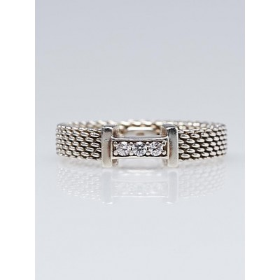 Tiffany & Co. Sterling Silver and Diamond Somerset Narrow Ring Size 5.5