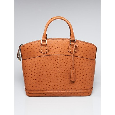 Louis Vuitton Limited Edition Tan Ostrich Lockit MM Bag