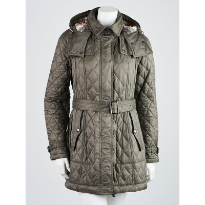 Burberry London Mink Grey Quilted Nylon Belted Zip Coat Size M