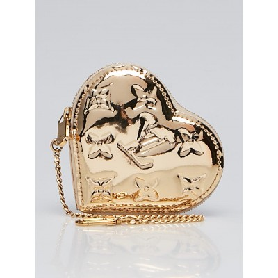 Louis Vuitton Limited Edition Gold Monogram Miroir Heart Coin Purse