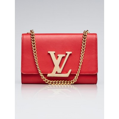 Louis Vuitton Rouge Calfskin Leather Chain Louise MM Bag
