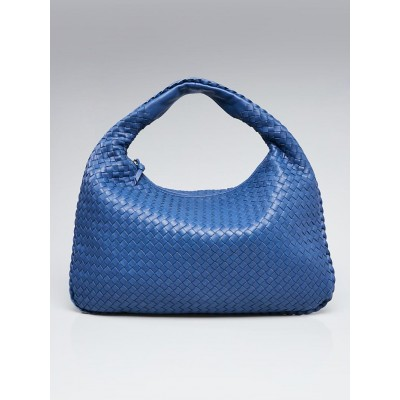 Bottega Veneta Blue Intrecciato Woven Nappa Leather Large Veneta Hobo Bag