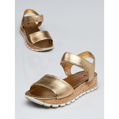 Prada Sport Gold Leather Two Strap Sandals Size 4.5/35