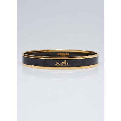 Hermes Black Enamel Gold Plated Caleche Narrow Bangle Bracelet Size 65