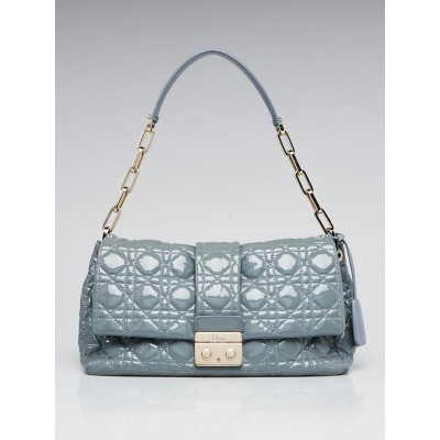 Christian Dior Blue Cannage Quilted Patent Leather New Lock Flap Bag