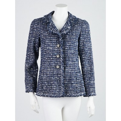 Chanel Blue/White Tweed Blend Blazer Jacket Size 8/40