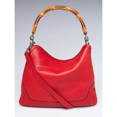 Gucci Red Pebbled Leather Diana Bamboo Handle Shoulder Bag
