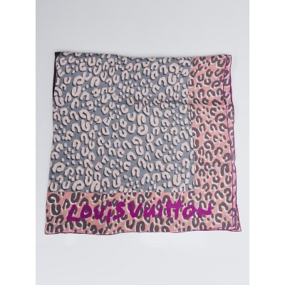 Louis Vuitton Grey Rose Giant Leopard Silk Square Scarf