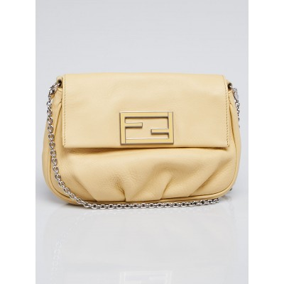 Fendi Light Yellow Leather Fendista Pochette Crossbody Bag 8B0276