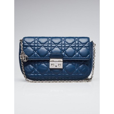 Christian Dior Blue Cannage Quilted Lambskin Leather Miss Dior Small Flap Bag