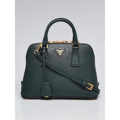Prada Smeraldo Saffiano Lux Leather Mini Promenade Bag 1BA838