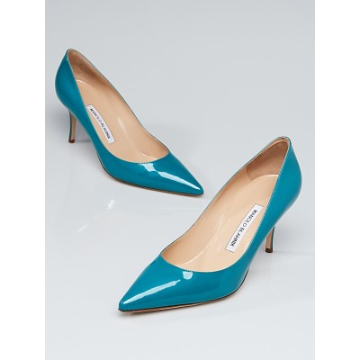 Manolo Blahnik Blue Patent Leather Nausikaba Pointy Toe Pumps Size 9/39.5