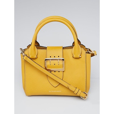 Burberry Yellow Grainy Leather Small Buckle Tote Bag