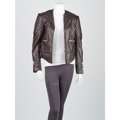 Balenciaga Brown Quilted Lambskin Leather Biker Jacket Size 6/38