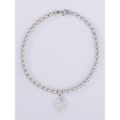 Tiffany & Co. Sterling Silver Return to Tiffany Bead Mini Heart Tag Bracelet