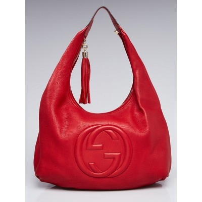 Gucci Red Pebbled Leather Soho Hobo Bag